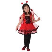 3 Unids Mariquita Linda de Hadas Para Niñas Vestidos de Baile de Halloween Disfraces Para Niños Pequeños Mariquita del Día de Los Niños Traje(China (Mainland))