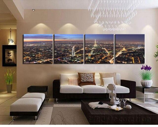 Paris grandes cuadros de la pared para sala de estar 4 unidades de ...