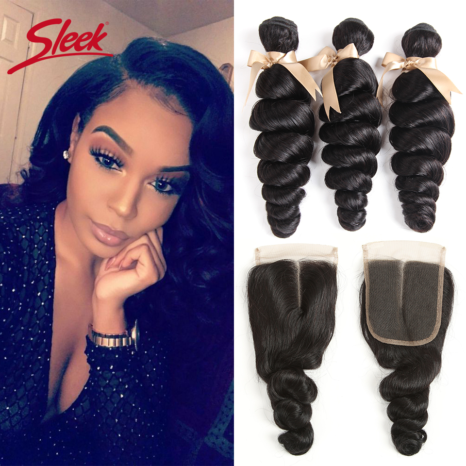 Sleek Loose Wave Bundles With Closure Remy Hair Extension Brazilian Hair Weave 3 4 Bundles With Closure Free Shipping
