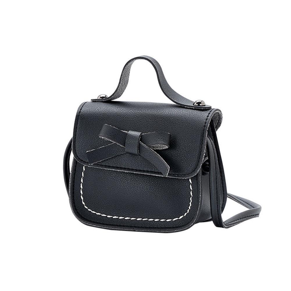 Новинка, брендовые сумки-мессенджеры для малышей, сумки на плечо для девочек, сумки на плечо для принцесс, однотонные кошельки с бантиком для принцесс - Цвет: Черный