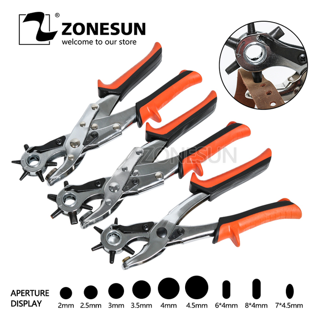 ZONESUN Leather Tools Revolving Punching stitching Plier Round Hole Perforator for Leather Strap Watch Band Belt Hollow Tool