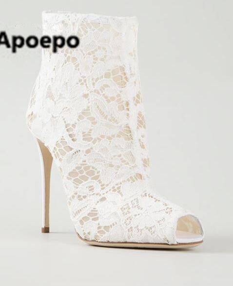 Apoepo 2017 autumn white wedding shoes fashion floral ankle boots sexy peep toe high heels boots women zipper ladies shoes 2017 sweet ladies peep toe women ankle boots sexy lace super high thin heels women pumps solid zipper female party wedding shoes