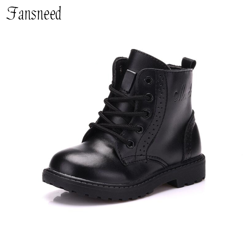 2019 Autumn&Winter Boys And Girls Martin Boots Baby Boys Genuine Leather Boots Child Boys Martin Fashion Shoes