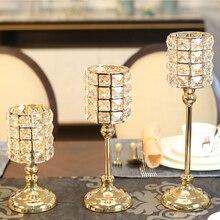 Simple Glass Crystal Candlestick Golden Holder Candle Centerpiece Warmer Kandelaar Metal Lantern 50KO213