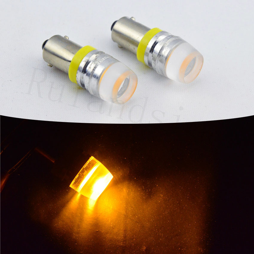 2pcs 6V 12V 24V 2W BA9S T4W COB LED Auto Marker Parking Bulb 363 1895 233 T11 Car Concave shape White Yellow ld t20 7 5w 350lm 6500k 15 led white cob car turn signals silver yellow white 10 13 6v