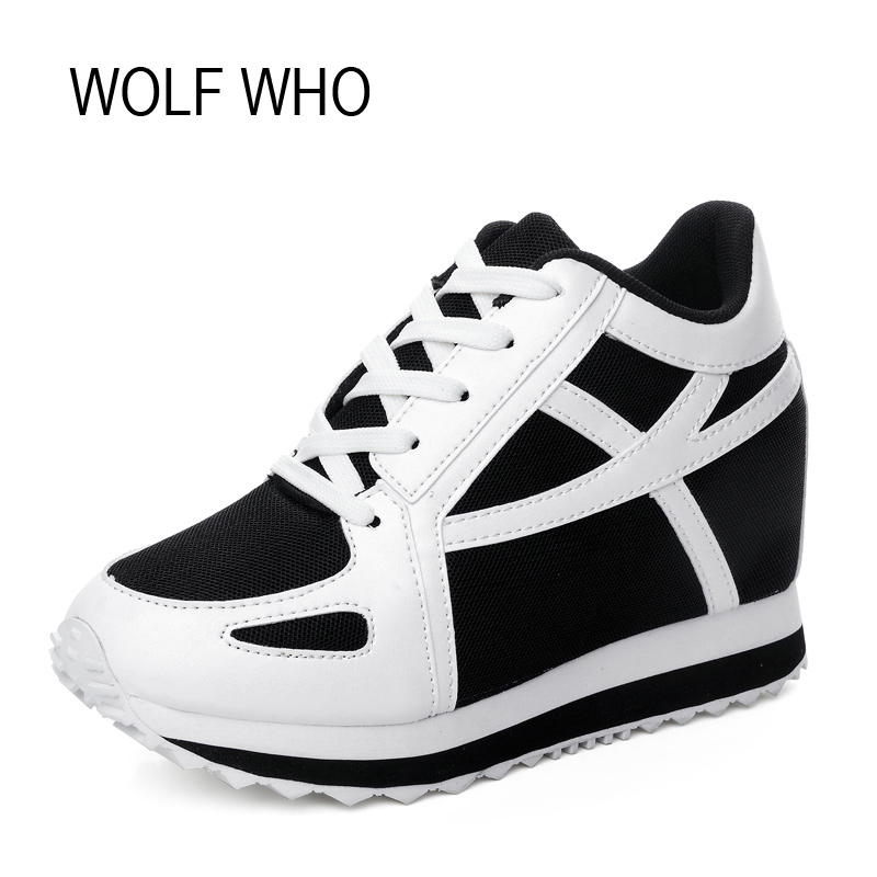 WOLF WHO Hidden Heels Platform Wedge Sneakers Women Shoes White Tenis Feminino Casual Krasovki Basket Femme X105 комбинезон awama комбинезон