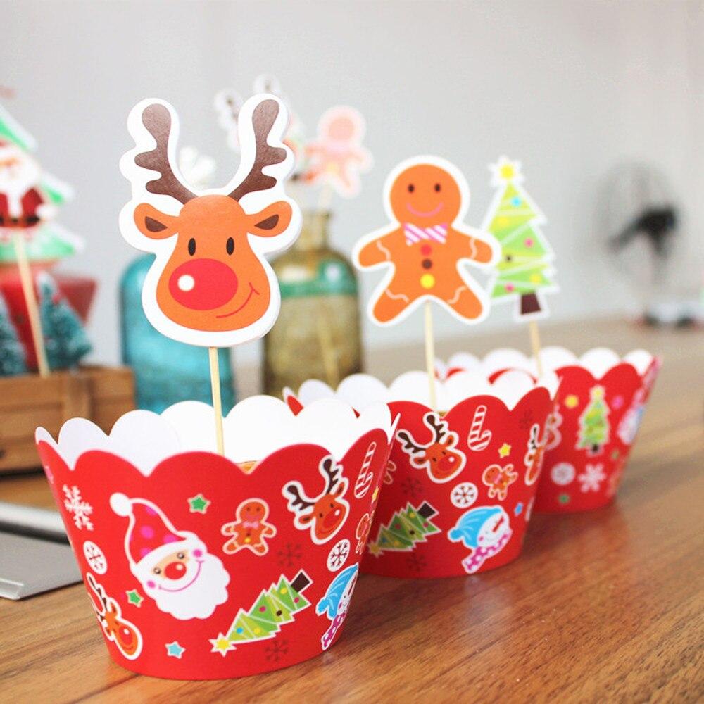 Image 3 - 24 ピースケーキトッパー   カップケーキラッパージンジャーブレッドマンサンタ鐘クリスマス装飾用好意ケーキ装飾    グループ上の ホーム