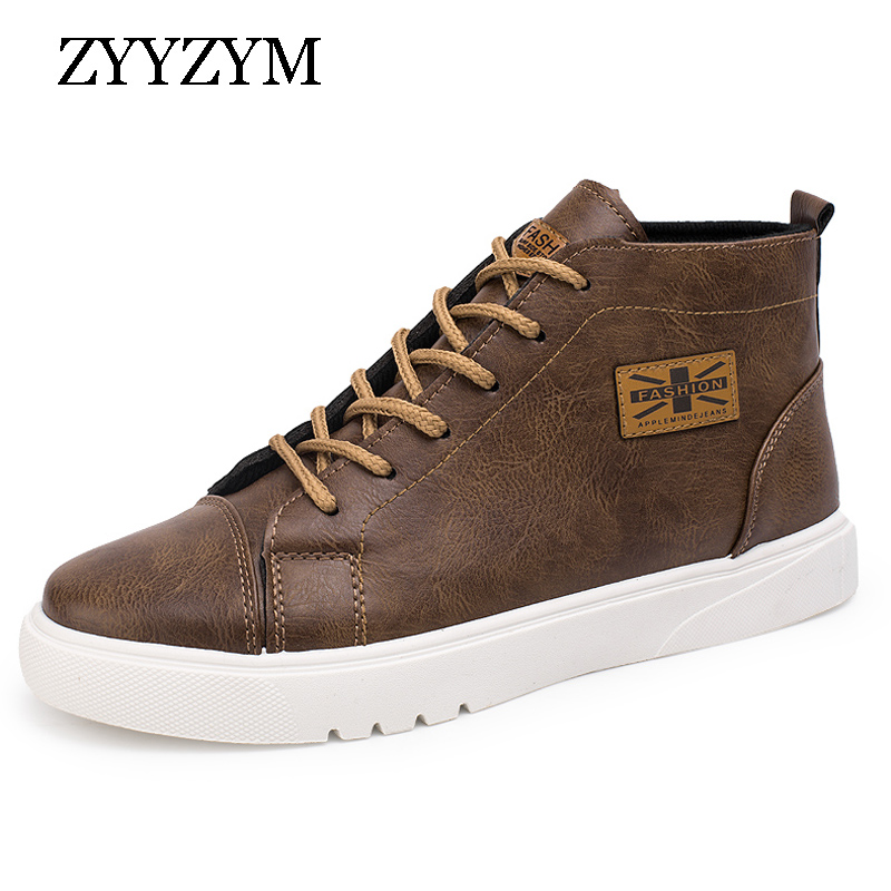 Men Casual Shoes Spring Autumn New Arrival 2017 Hot Sale High Lace-up Style Pu Leather Fashion Trend Youth Man Martin Boots