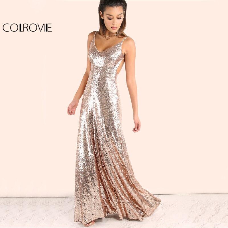 COLROVIE Ouro Rosa Lantejoula Partido Maxi Vestido 2017 Sexy Backless Deslizamento Império Elegante UMA Linha de Vestidos de Verão Longos Mulheres Clube vestido