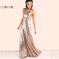 COLROVIE Rose Gold Sequin Party Maxi Dress 2017 Sexy Backless Slip Long Summer Dresses Women Empire