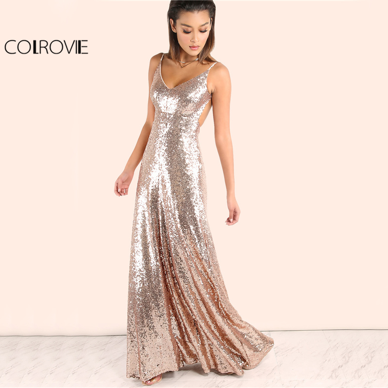 COLROVIE Rose Gold Sequin Party Maxi Dress 2017 Sexy Backless Slip Long Summer Dresses Women Empire Elegant A Line Club Dress