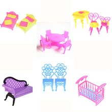 Dollhouse Furniture Girls Children Cosmetics Toy Dressing Table Sets Sofa Wardrobe Accessories Pink Doll Make-up Toys Girl Gift(China)