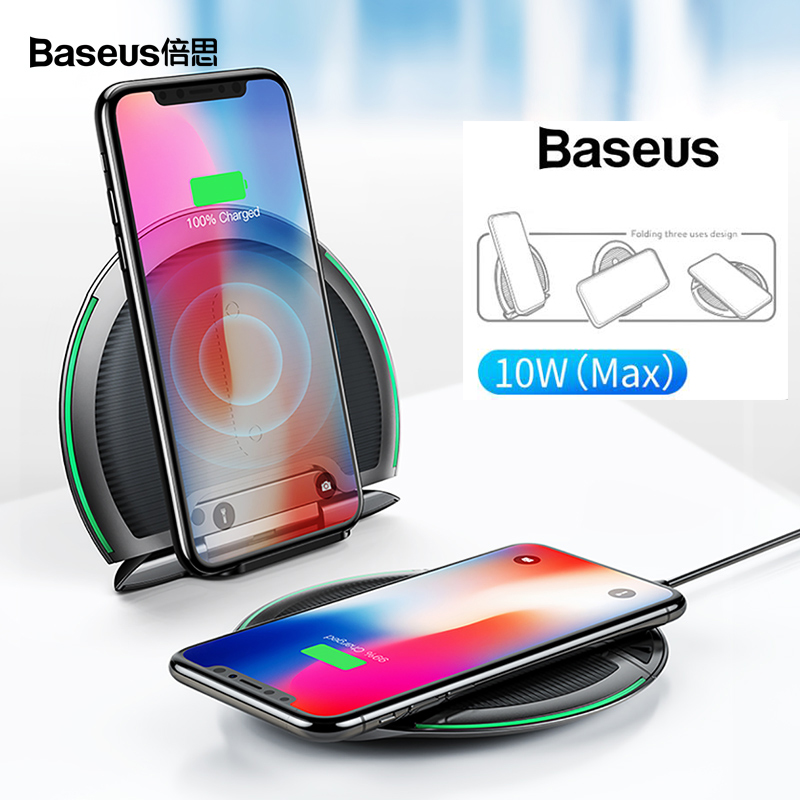 Baseus Deformable Qi Wireless Charger for iPhone 8/X Multi-function Fast Wireless Charging for Samsung S9/S9+/S8 Huawei XiaomiBaseus Deformable Qi Wireless Charger for iPhone 8/X Multi-function Fast Wireless Charging for Samsung S9/S9+/S8 Huawei Xiaomi