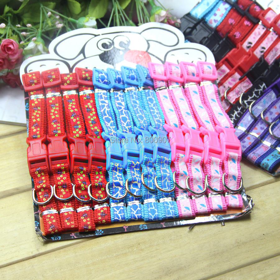Hot sale! Wholesale 96PCS/card 3 colors embroidery fine design nylon pet collar teddy dog collar cat collar