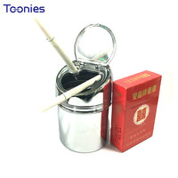Elegant Metal Top Quality Home Ashtray For Vehicle Travel Smoker Necessity Light Luxurious Portable Ashtrays Cylinder