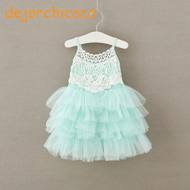 Sleeveless wedding girls party lace summer ball gowns cake dress Children  baby school lace slip dress Garments  dejorchicoco  8e1e113dba59