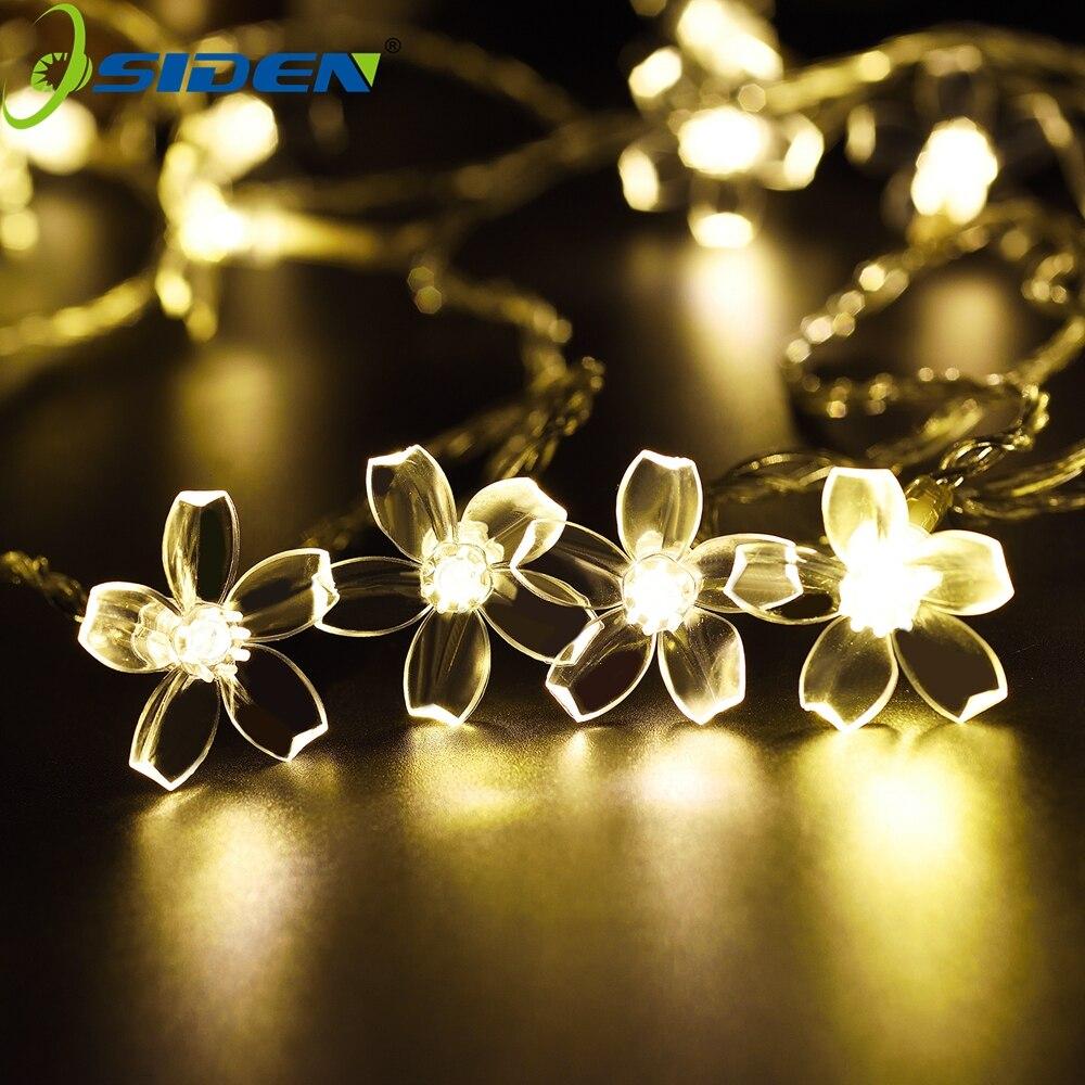 Floral String Lights 5m 10M 100LED Luz de vacaciones impermeable Iluminación de jardín al aire libre para el festival de Navidad Decoración de fiesta
