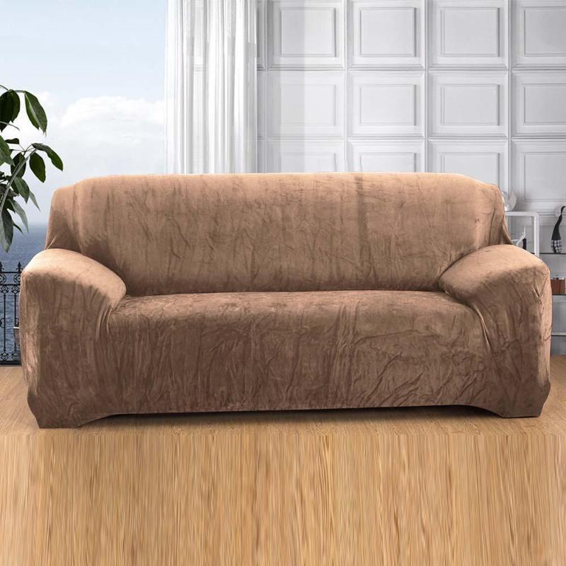 Canapé fixe couvrent Tout compris canapé couvre En Peluche épaississement Trois Canapé Taie D'oreiller Solide Canapé Plein Couvre R5