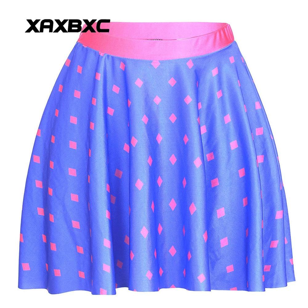 NEW 1238 Summer Sexy Girl Dorothy High Crop polka dot Printed Cheering Squad Tutu Skater Women Mini Pleated Skirt Plus Size
