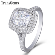 Transgems 14K White Gold Double Halo Center 1ct 5X7MM Cushion Cut Moissanite Engagement Ring for Women Wedding with Accents