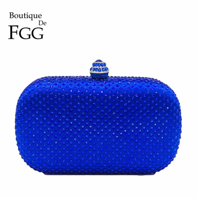 Boutique De FGG Royal Blue Rhinestones Clutch Women Evening Purse Bridal Handbag Wedding Party Crystal Chain Shoulder Bag