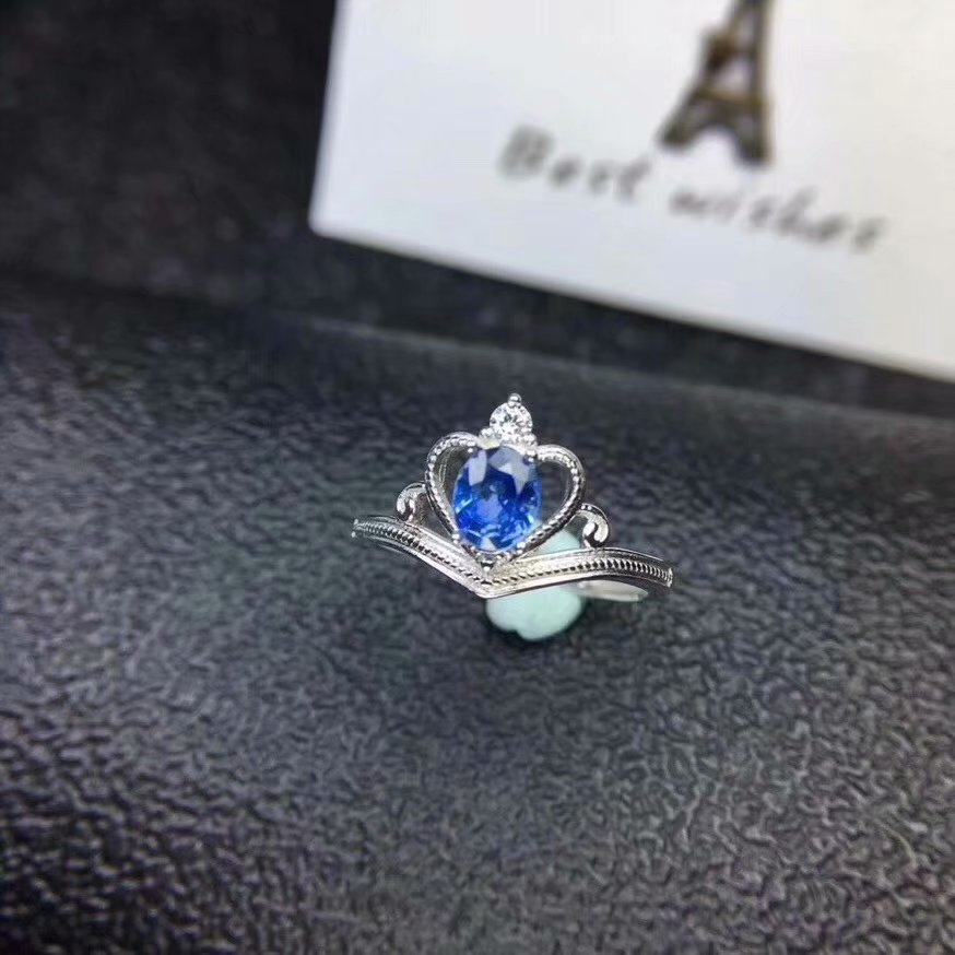 Natural sapphire ring 925 sterling silver ring ring Precious stones Send a lover, a girlfriend, a gift, Noble.