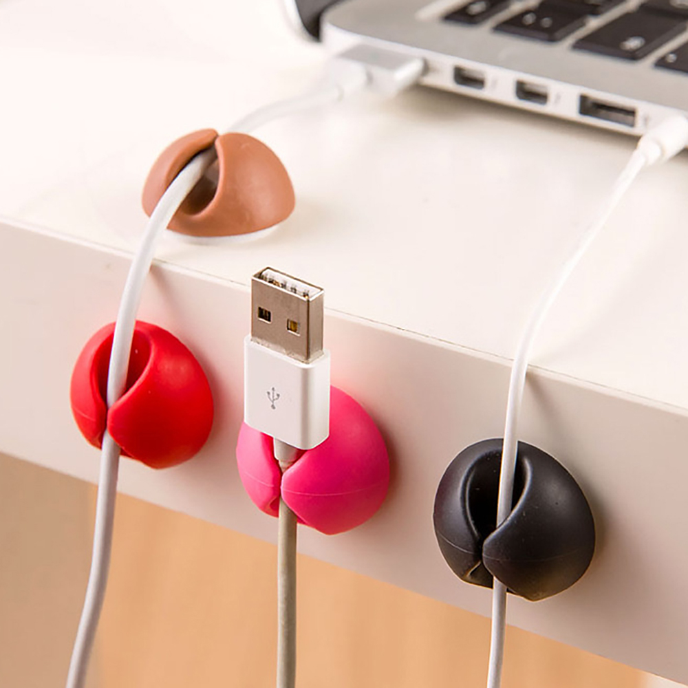 2pcs Round Phone Cable Winder Organizer Line Protector <font><b>Earphone</b></font> Ties Collation Management Wire Cord Fixer <font><b>Holder</b></font> image