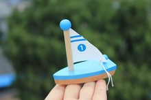1pc/pack baby wooden sailboat toys/ wood Mini sailing boat and ship for kids Child water beach bath toys , free shipping