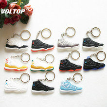 Car Key Chain  Mini Silicone Jordan 11 Keychain Bag Charm Woman Men Kids Key Ring Gifts Sneaker Key Accessories Shoes mini silicone sply 350 v2 shoes keychain woman bag charm men kids key ring gift sneaker key chain acessorios porte clef