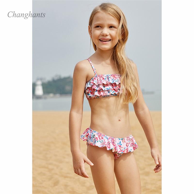 022fac6f10aa9 2019 New Model Girls Bikini Set two piece Swimwear Cake layer Flower Kids  Children Swimming wear. sku: 32979668683