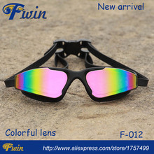 2016 new arrival swimming factory high quality colorful mirrored lenses swimming goggles with earplugs