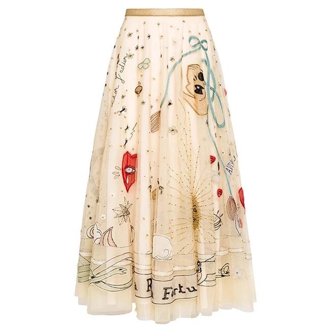 Chất lượng cao thêu Lưới Váy 2018 Mùa Xuân mùa hè thời trang thanh lịch Cao Eo váy S396