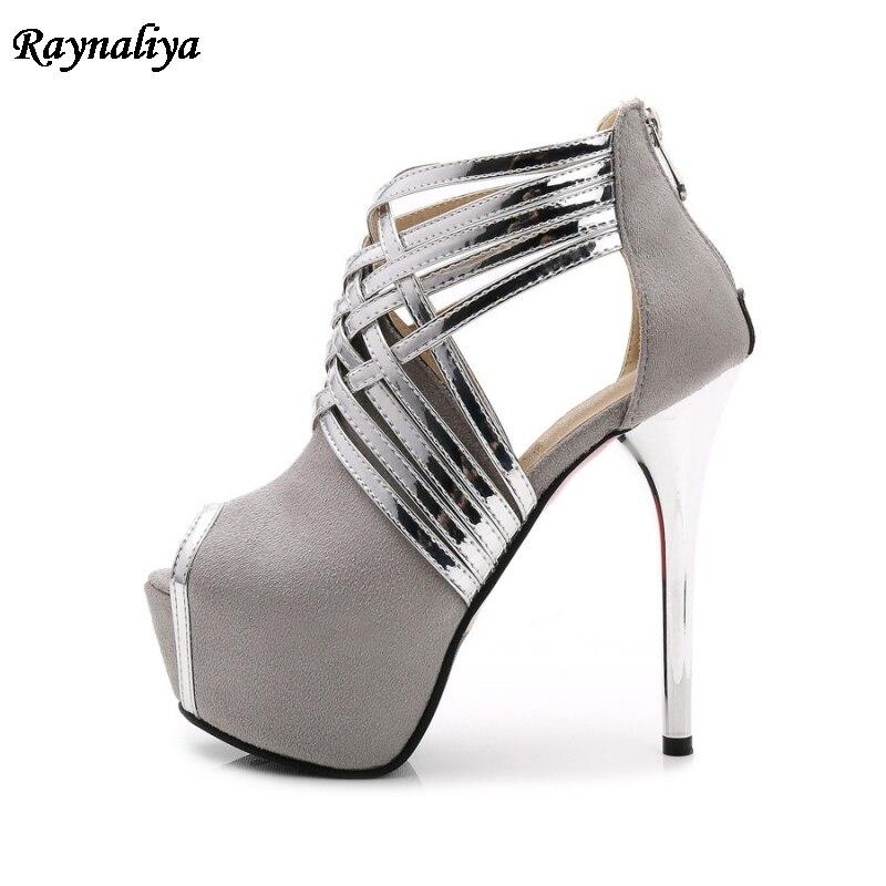b0014 Tacones shoes Bling De 44 Plata Mujer Estilo Ms Alto Zapatos Shoes Cinturones Rebaño Cm Boda Sandalias Tamaño Cuero shoes shoes Tacón 35 Gran 14 Romano f5S1xwqzp