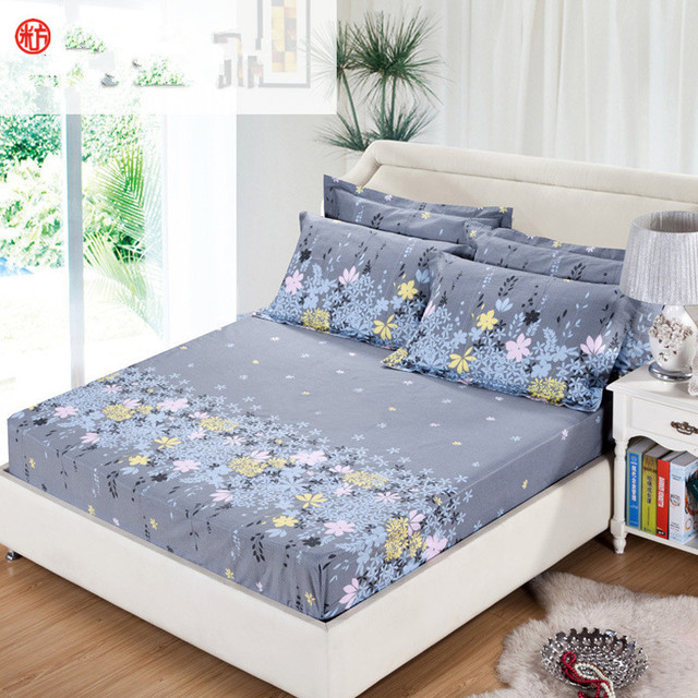 3pcs/set Bedding Rubber Fitted Bed Sheet +pillowcase Gray Flower Elastic Bed  Cover Summer