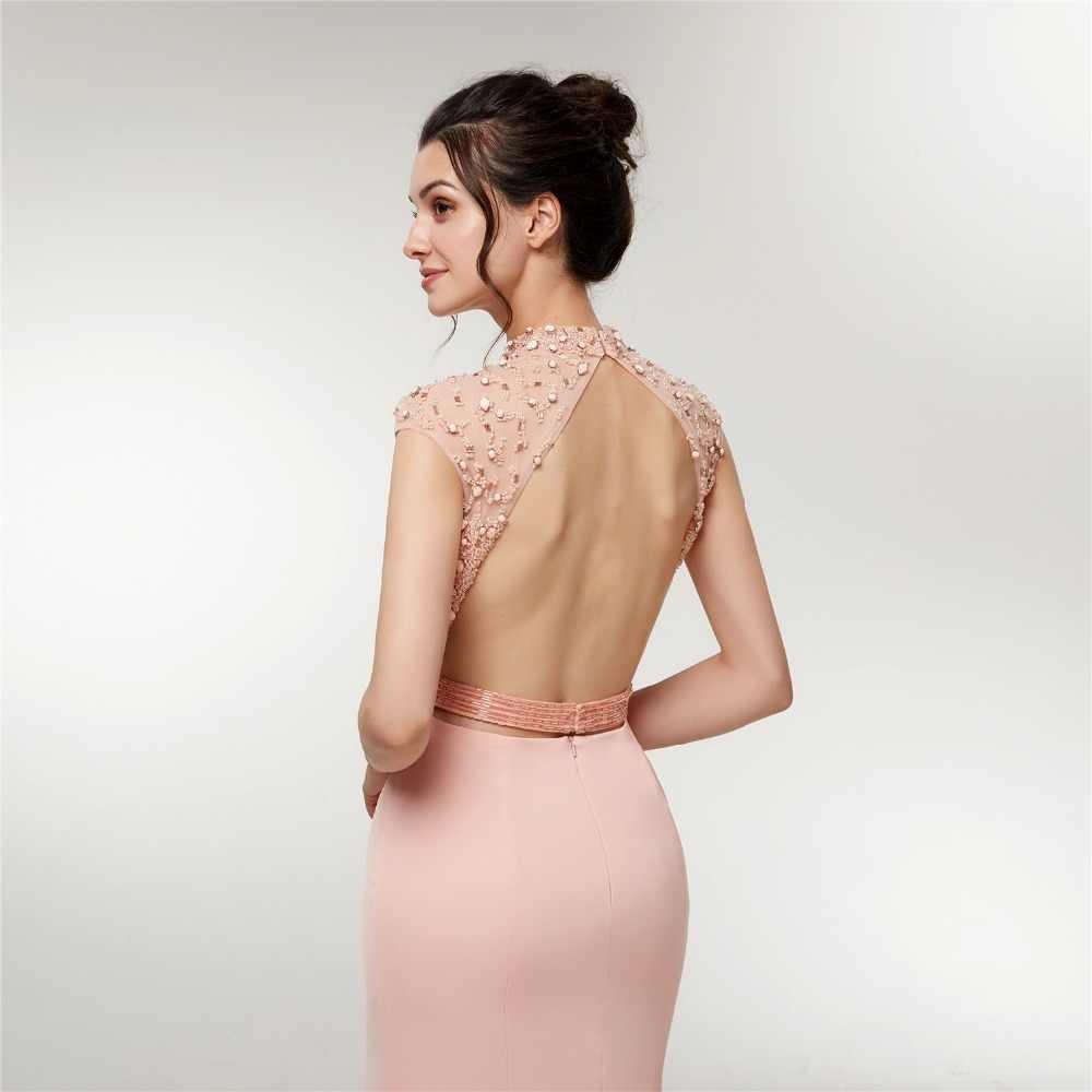 JaneVini 2018 Thanh Lịch Nàng Tiên Cá Đính Cườm Bridesmaid Dresses Cao Cổ Dài Prom Dress Tầng Length Backless Satin Trang Phục Chính Thức Đảng Gowns