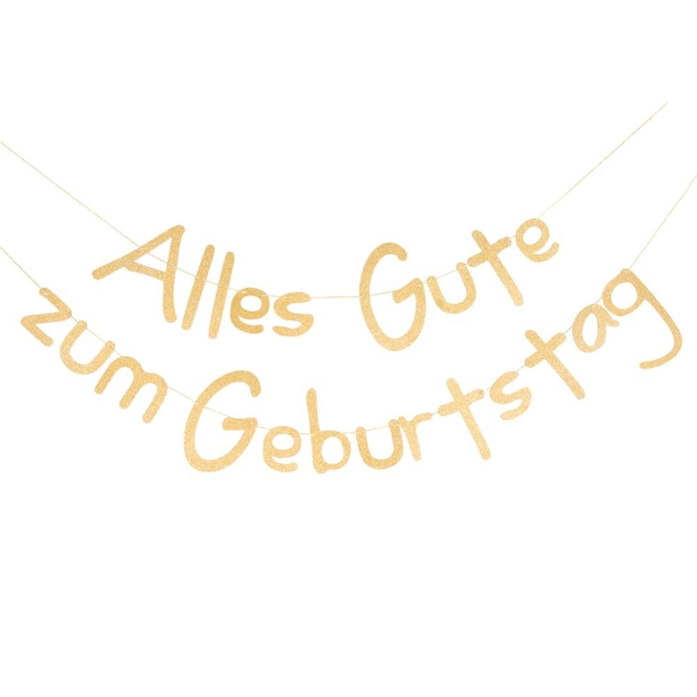 Gliiter Gold Alles Gute Zum Geburstag Decor Happy Birthday Banner German Kids Adults Party Supplies