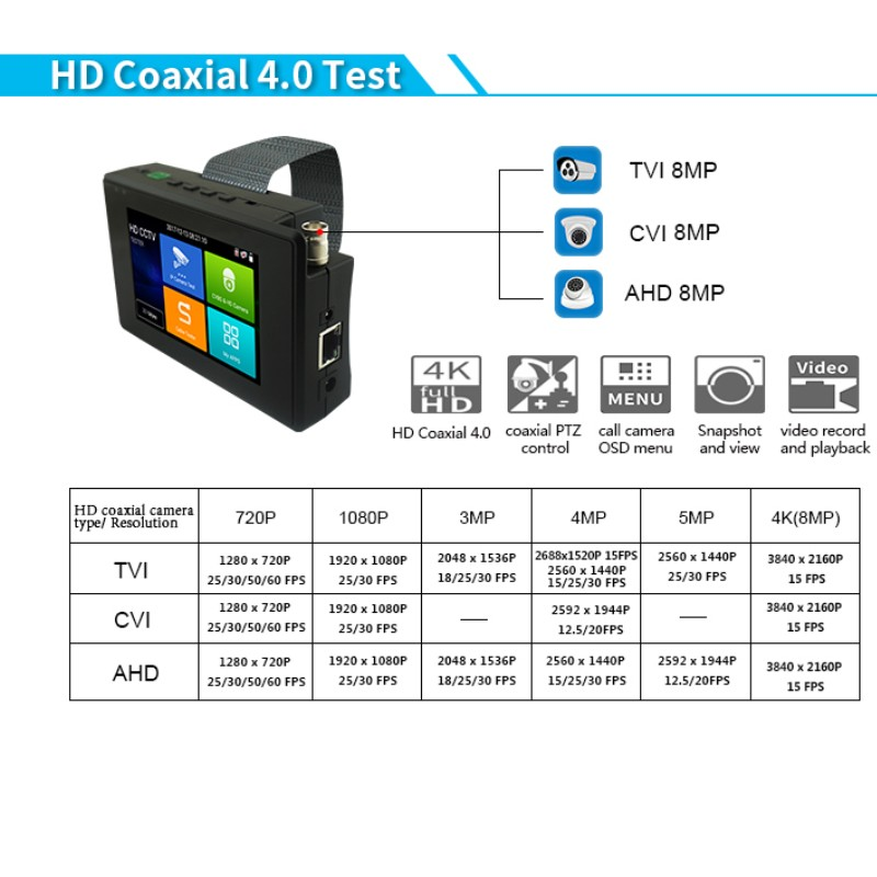 Image 3 - IPC1800 Plus 4 inch coaxial HD 4.0 CCTV Tester Monitor 4K H.265 IP CVI TVI AHD CVBS Camera tester with WIFI hotspot PTZ Control-in CCTV Monitor & Display from Security & Protection