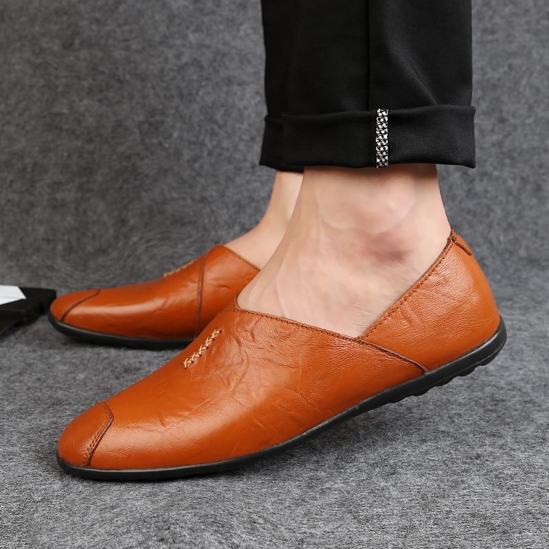 Slip Pour dark forme Chaussures Vache Solide Cuir Plate on Homme Mocassins Brown Casual Jeunes Et Mode De En Véritable 2018 Brown Hommes red Travail Conduite Black qXwB7xXT