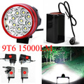 15000 Lumens 9T6 Bicycle Light 9xCREE XM-L T6 LED Front Bike bicicleta Lamp + 6400mah 8.4v Battery pack +AC charger