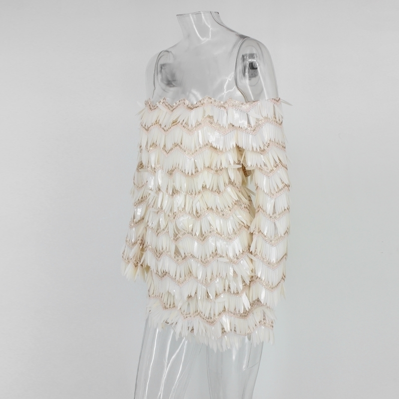 Dresses Backless Dress Ivory multi Fuedage Vestidos Festival Club Women Christmas Sexy Party Strapless New Patchwork Sequined Tassel Fashion qXwzgxvXp