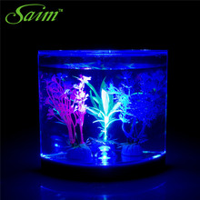 hot deal buy saim mini tank led lighting lamp half moon betta aquarium lighting tanks acrylic aquariums ornamental desktop fish bowls decor