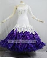 Modern Waltz Ballroom Dance Dress,Tango Dress, Waltz Competition Dress,Ballroom Dancewear,Feather dress,white and purple.fashion