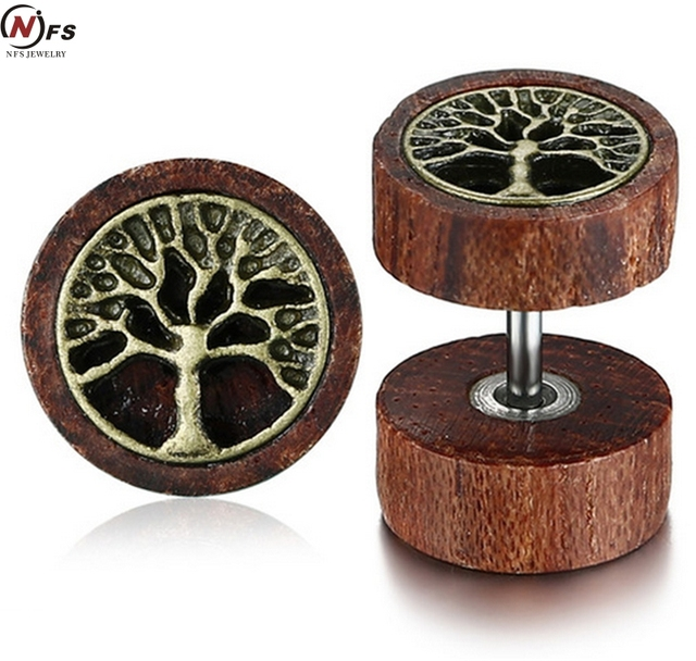 Nfs Wood Men Stud Earrings Life Tree Pattern Round Wooden Earring Stylish Rocking Stainless Steel Male Jewelry Daily In From