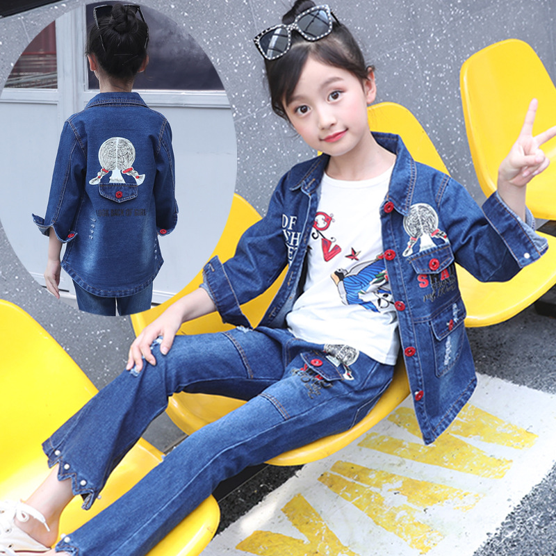 Children's wear girls' cowboy suit spring and autumn clothing 2018 girls students denim two sets 3 year to 8 year girl jeans set