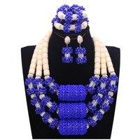 4 ювелирные изделия Свадебные Ювелирные наборы Королевский синий индийский Африканский Ювелирные наборы с серебряными длинными шариками н