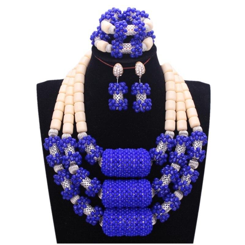 4 ювелирные изделия Свадебные Ювелирные наборы Королевский синий индийский Африканский Ювелирные наборы с серебряными длинными шариками нигерийские коралловые бусины для женщин 2018