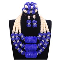 4UJewelry Bridal Jewelry Sets Royal Blue Indian African Jewelry Sets With Silver Long Balls Nigerian Coral Beads For Women 2018