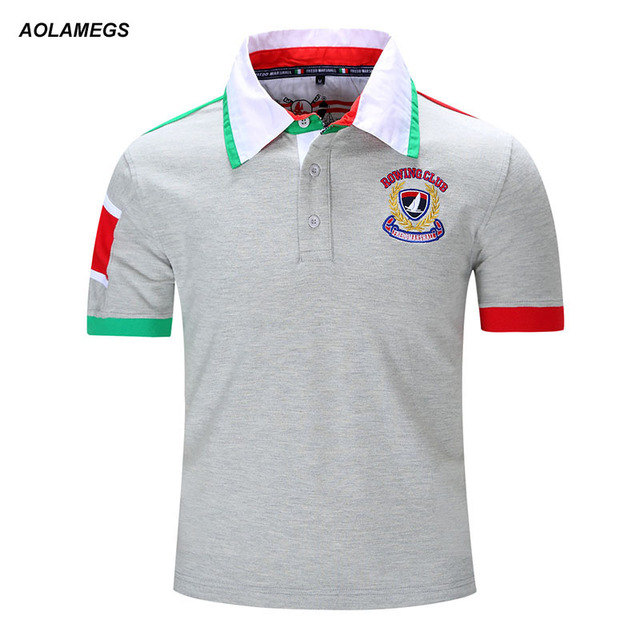 Aolamegs Men Polo Shirt Solid Polo Homme Casual Short Sleeve Cotton Tops 2017 New Patchwork Contrast Color Camisa Polo Plus Size