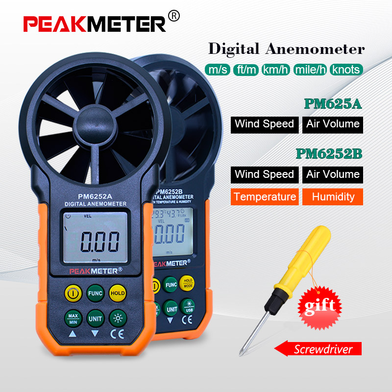 US $25 91 28% OFF|PEAKMETER PM6252A/B USB Digital Anemometer Temperature  Humidity Wind Speed Air Volume Measuring Meter With LCD Backlight-in Speed