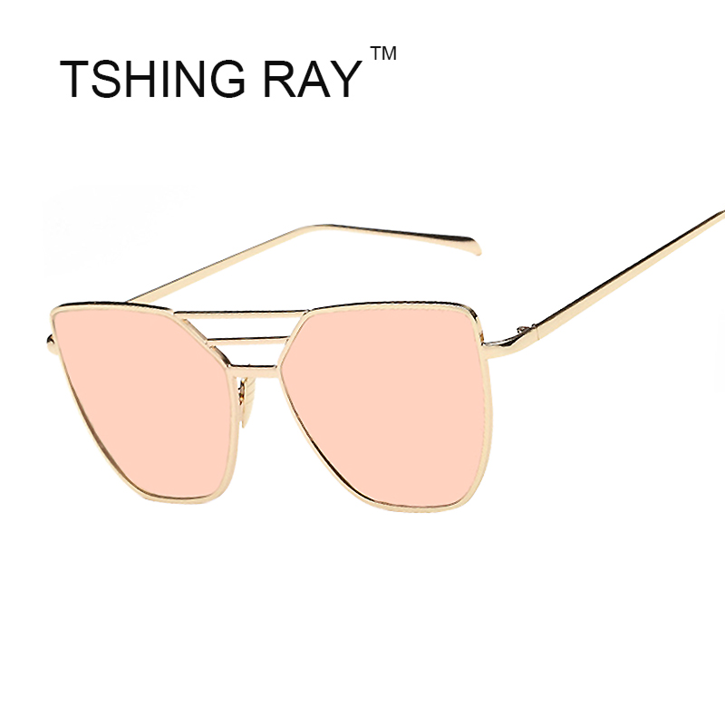 794879c77f2 TSHING RAY 2016 New Fashion Women Cat Eye Sunglasses Three Beam Metal Frame Mirror  Sun Glasses